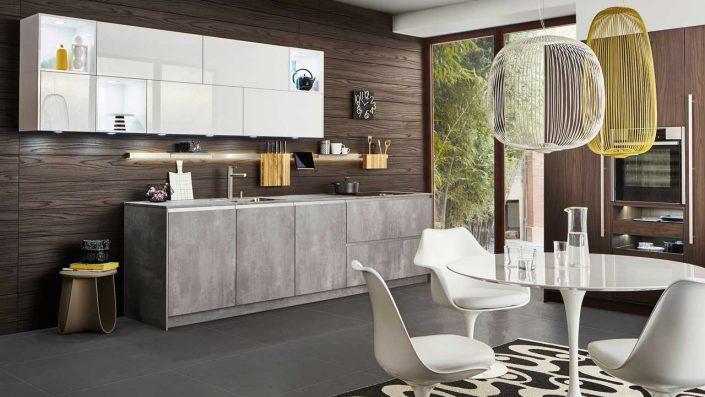 Leicht Küchen, echtholzfurniertes Wandpaneel, Front Betonreproduktion